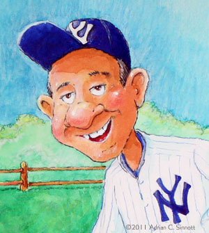 A detail from an illustration of Yogi Berra.
