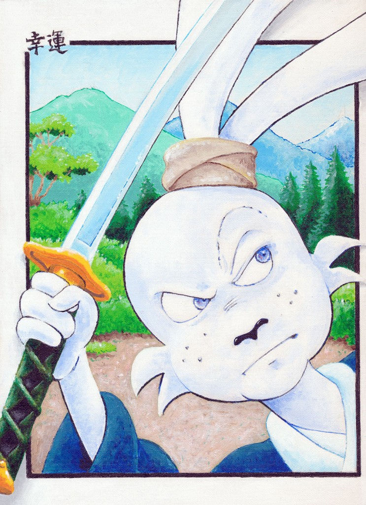 "A 9""x 12"" acrylic painting on canvas board of Stan Sakai's great Usagi Yojimbo."